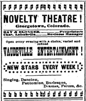 Colorado Miner, ad for Novelty Theater