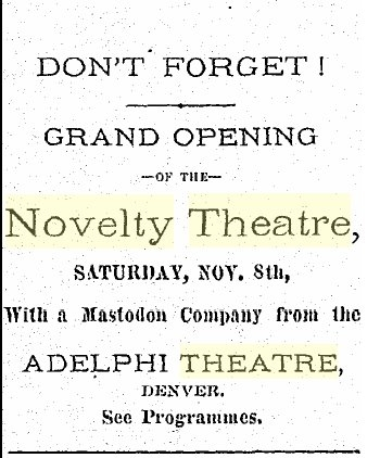 Geaorgetown Miner, ad for Novelty Theater