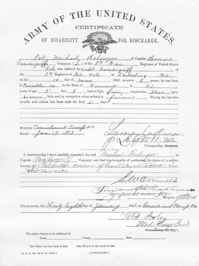 Certificate of Disability for Discharge